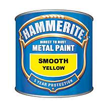 image of Hammerite Direct to Rust Metal Paint Smooth Yellow 750ml