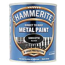 image of Hammerite Direct to Rust Metal Paint Smooth Black 750ml