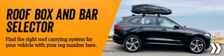 Roof box and bar selector