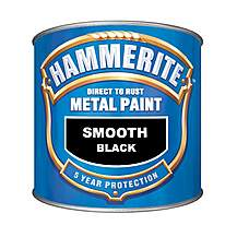 image of Hammerite Direct to Rust Metal Paint Smooth Black 250ml