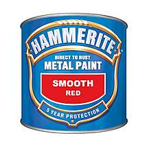 image of Hammerite Direct to Rust Metal Paint Smooth Red 250ml