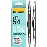 Halfords Set 54 Wiper Blades - Front Pair