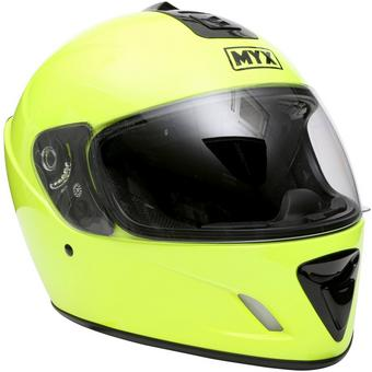 322008: MYX Full Face Motorcycle Helmet - Fluro Yellow, Medium (57-58cm)