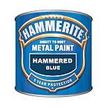 Hammerite Direct to Rust Metal Paint Hammered Blue 250ml