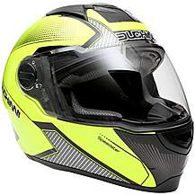 image of Duchinni D811 Gloss Black/Neon Motorcycle Helmet