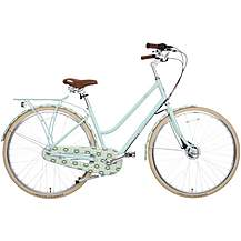 "image of Olive and Orange by Orla Kiely Womens Classic Bike - Part Cover Duck Egg Tall Flower - 17"", 19"" Frames"