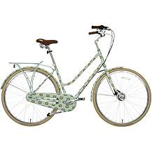 "image of Olive and Orange by Orla Kiely Womens Classic Bike - Full Cover Duck Egg Tall Flower - 17"", 19"" Frames"