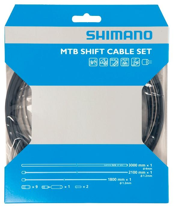 Shimano Mtb Gear Cable Set With Stainless Steel Inner Wire, Black