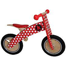 "image of Kiddimoto Kurve Red/White Dotty Balance Bike - 12"" Wheel"
