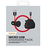 image of Halfords Micro USB Wall Charging Pack- Red/Black