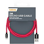 image of Halfords Micro USB Cable 2M - Black/Red