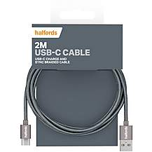 image of Halfords USB-C Cable 2M - Charcoal