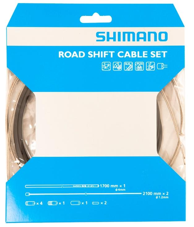 Shimano Road Gear Cable Set With Stainless Steel Inner Wire, Black