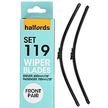 541680: Halfords Set 119 Wiper Blades - Front Pair