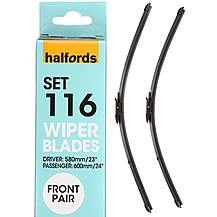 Halfords Set 116 Wiper Blades - Front Pair