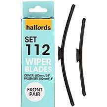 542340: Halfords Set 112 Wiper Blades - Front Pair