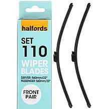 Halfords Set 110 Wiper Blades - Front Pair