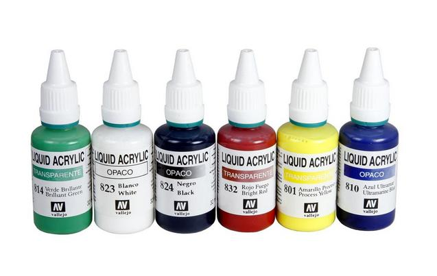 Acrylic Airbrush Colours 6 Piece Se...