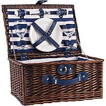 image of Summerhouse Coast 2 Person Wicker Picnic Basket - Navy