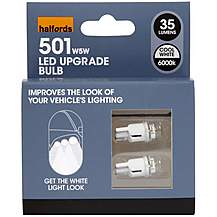 image of Halfords 501 W5W Cool White Car Bulbs x 2
