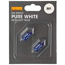 image of Halfords 501 W5W Pure White HID Effect Car Bulbs x 2
