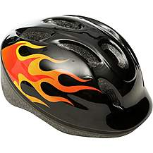 image of Yellow Flames Kids Bike Helmet (48-54cm)