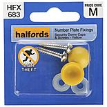 Halfords Number Plate Security Screw & Domed Cap Yellow (HFX683)
