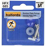 Halfords Number Plate Security Screw & Domed Cap Blue (HFX685)