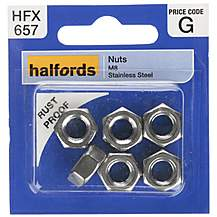 image of Halfords Nuts Stainless Steel M8 (HFX657)