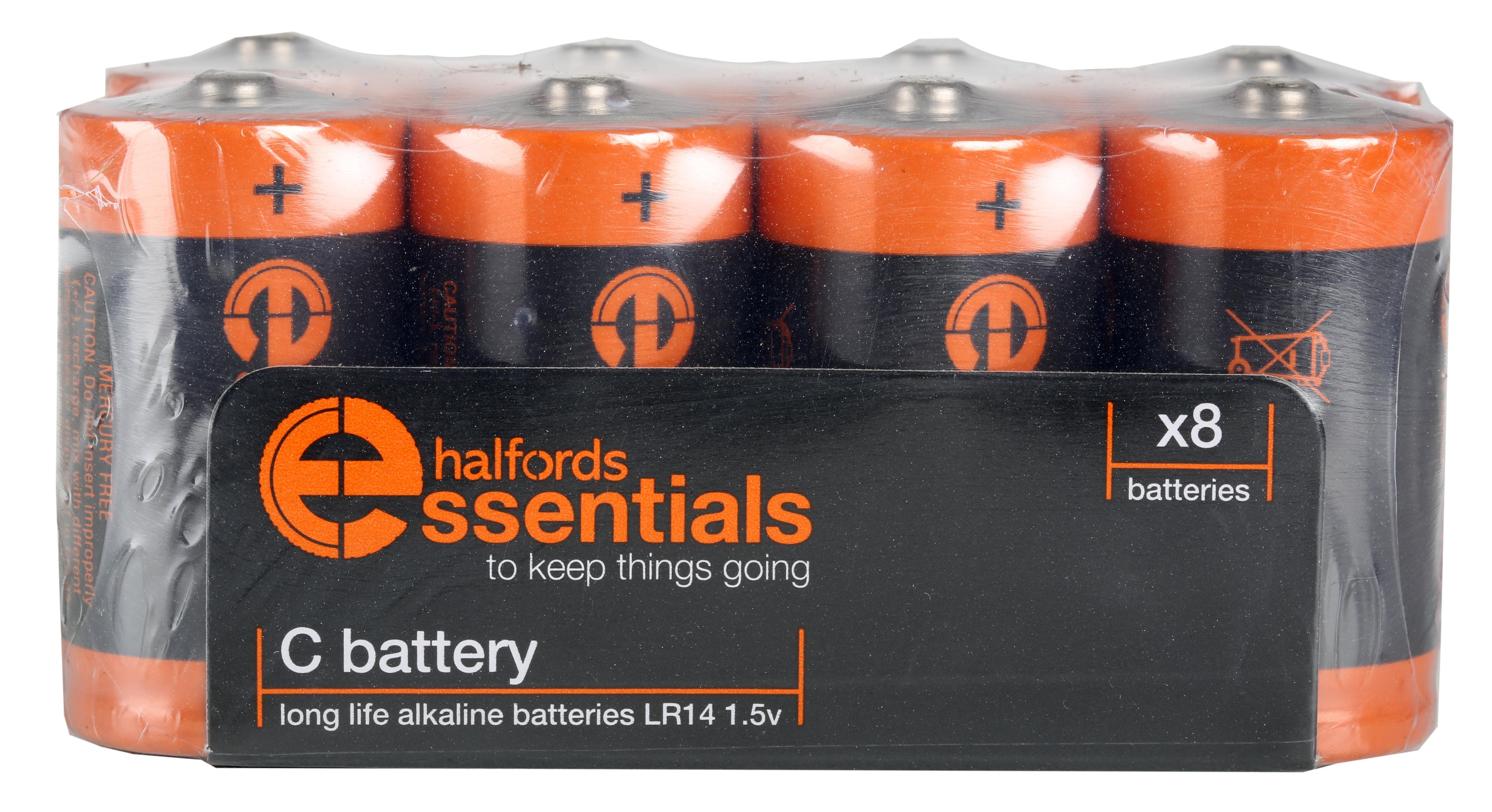 Halfords Essential Batteries C x8