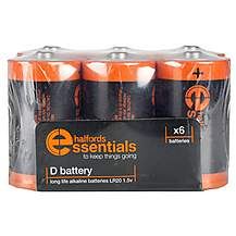 image of Halfords Essential Batteries D x6