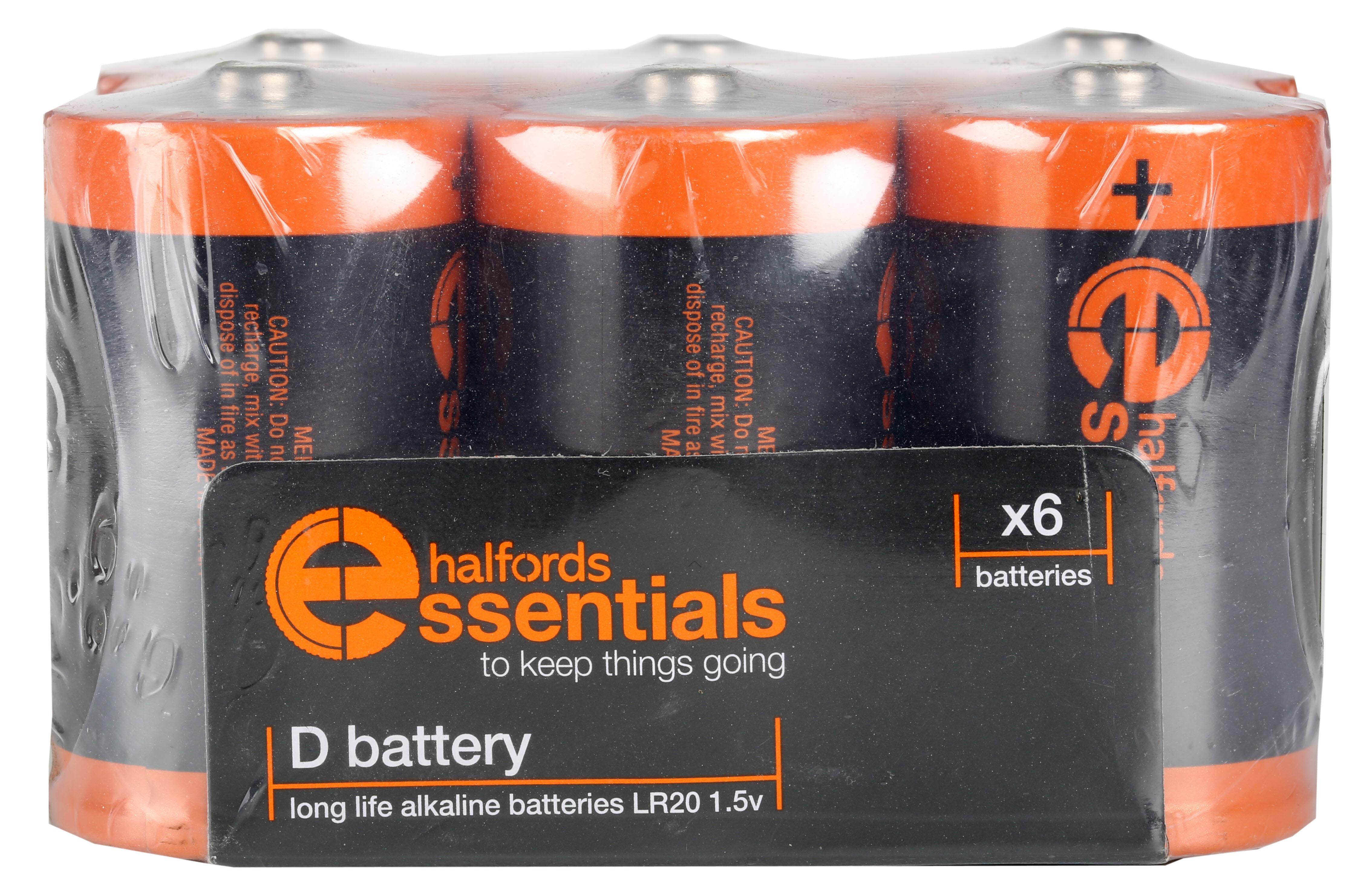 Halfords Essential Batteries D x6