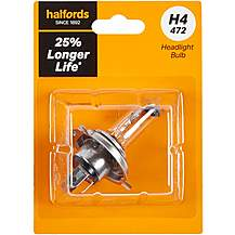 image of H4 472 Car Headlight Bulb Halfords +25 percent Longer Life Single Pack