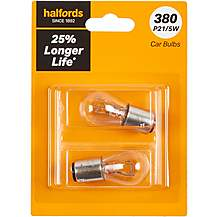 image of 380 P21/5W Car Bulb +25 percent Longer Life Halfords Twin Pack