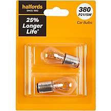 image of 380 P21/5W Car Bulb +25 percent Longer Life Halfords Twin Pack
