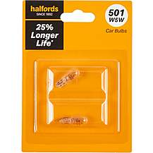 image of 501 W5W Car Bulb + 25 percent Longer Life Halfords Twin Pack