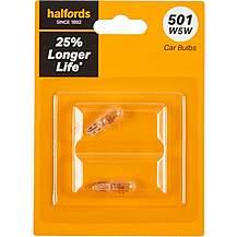 image of 501 W5W Car Bulb + 25 percent Longer Life Halfords Twin Pack