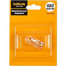 image of 582 W21W Car Bulb Manufacturers Standard Halfords Single Pack
