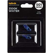 image of 501 W5W 3500K Whiter Car Bulb Halfords Advanced Twin Pack