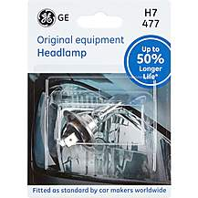 image of GE H7 477 Car Headlight Bulb 50 percent Longer Life Single Pack