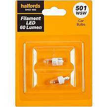 image of 501 LED Car Bulb Halfords Filament Style Twin Pack