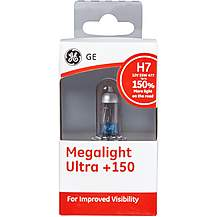 image of GE H7 477 Megalight Ultra +150 Car Headlight Bulb Single Pack