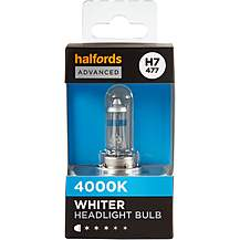 image of H7 477 Car Headlight Bulb Halfords Advanced White4000 Single Pack