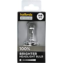 image of H4 472 Car Headlight Bulb Halfords Advanced Up To +100 percent Brighter Single Pack