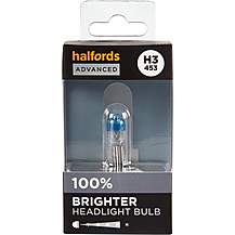 image of H3 453 Car Headlight Bulb Halfords Advanced Up To +100 percent Brighter Single Pack