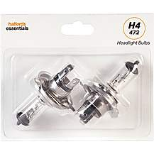 image of H4 472 Car Headlight Bulb Halfords Essentials Twin Pack