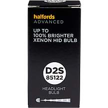 image of D2S 85122 Xenon HID Car Headlight Bulb Halfords Advanced +100 percent Brighter Single Pack