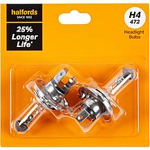 image of H4 472 Car Headlight Bulb Halfords +25 percent Longer Life Twin Pack