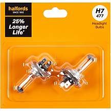 image of H7 477 Car Headlight Bulb Halfords +25 percent Longer Life Twin Pack