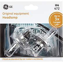image of GE H4 472 Car Headlight Bulb 3x Longer Life Twin Pack